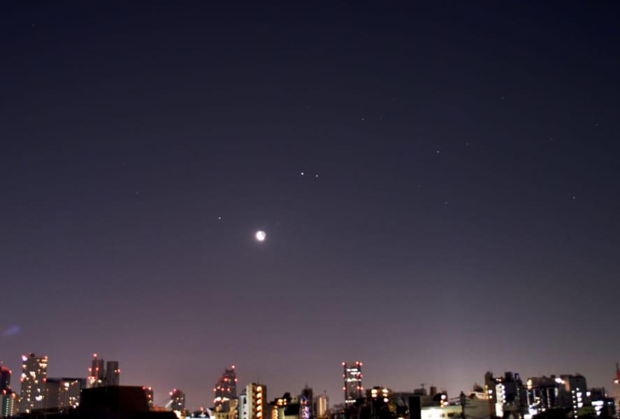 左から、土星、月を挟んで木星、火星