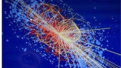 光速に近い速度で衝突した粒子の映像。衝突による影響で空間から素粒子が生成される