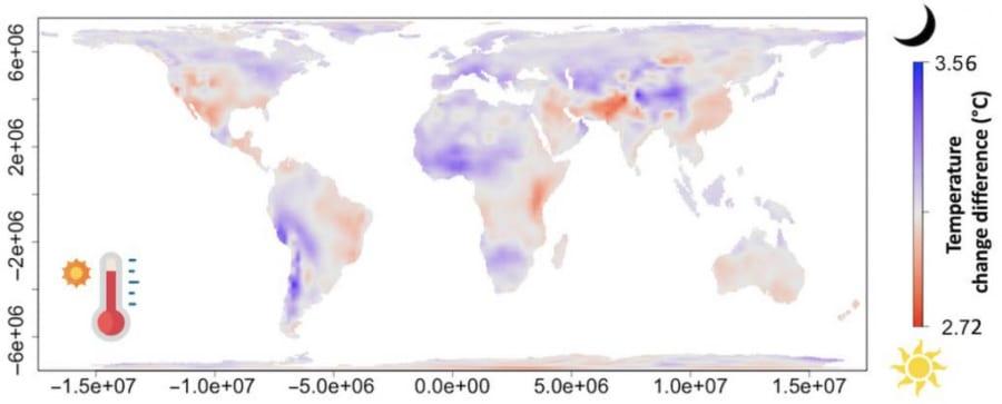青は夜間に温暖化の進んだ地域。赤は日中に進んだ地域を示す。