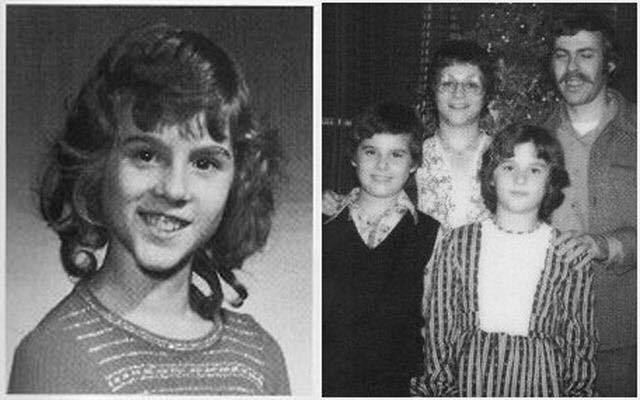 少女として育てられたデイビッド、右は家族写真