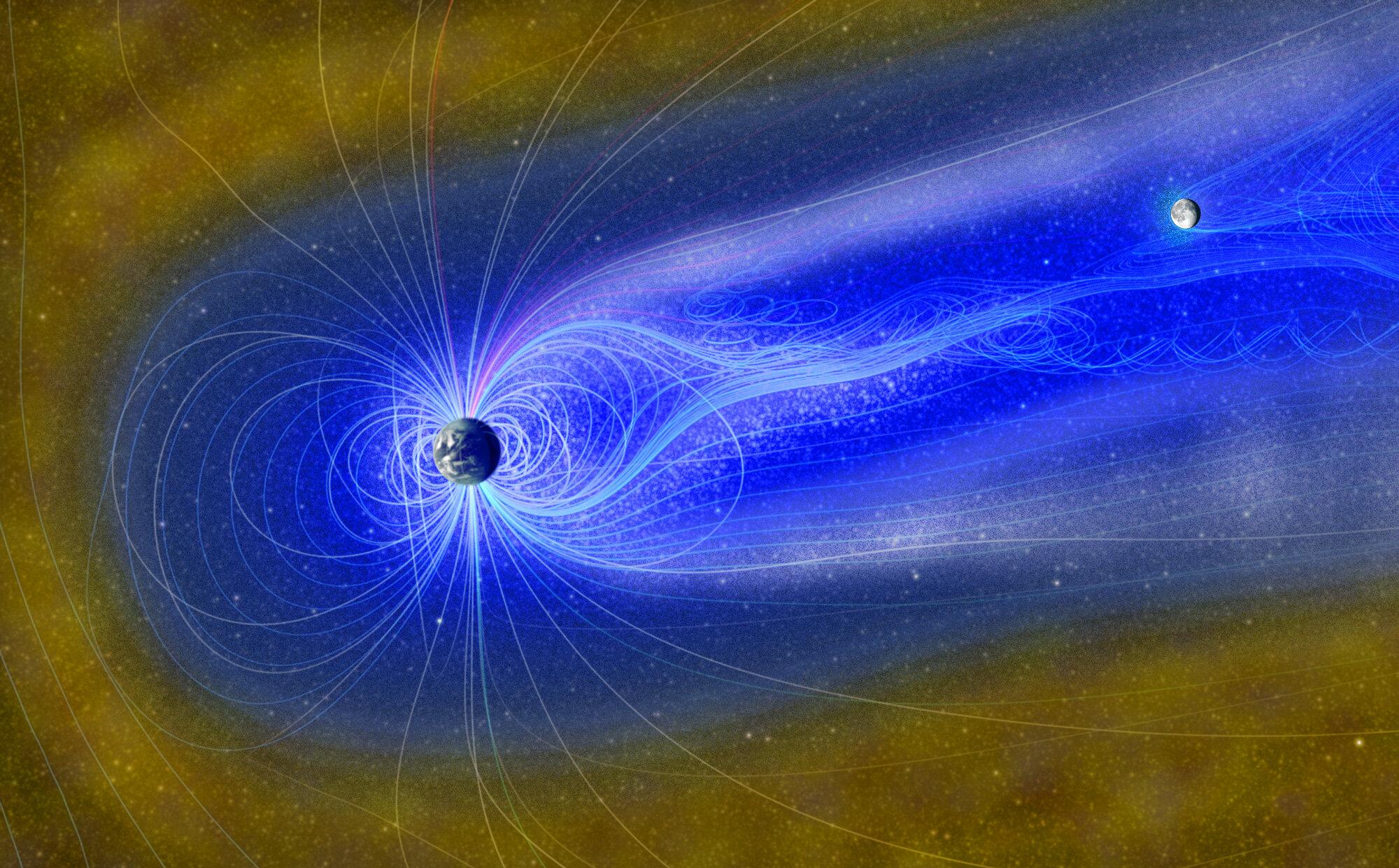 流れる酸素イオン(灰色)と水素イオン(青色)。黄色は太陽風。