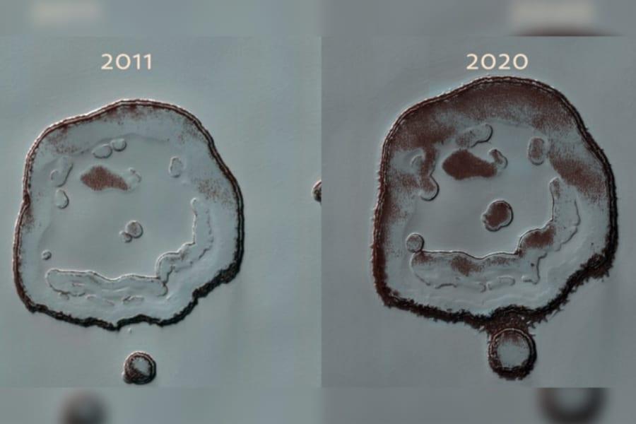 火星のスマイルクレーター、ここ10年でより「にこやかな笑顔」に