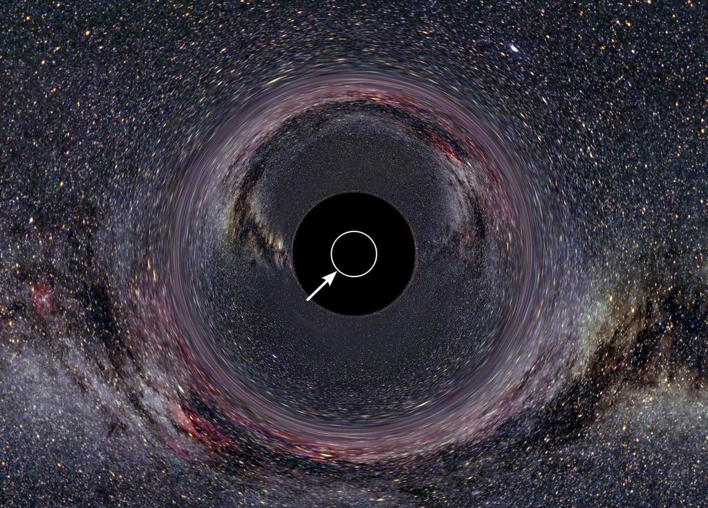 ブラックホールの事象の地平線。