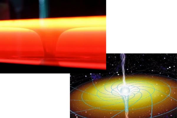 排水渦とブラックホールは実際によく似た挙動をしている。