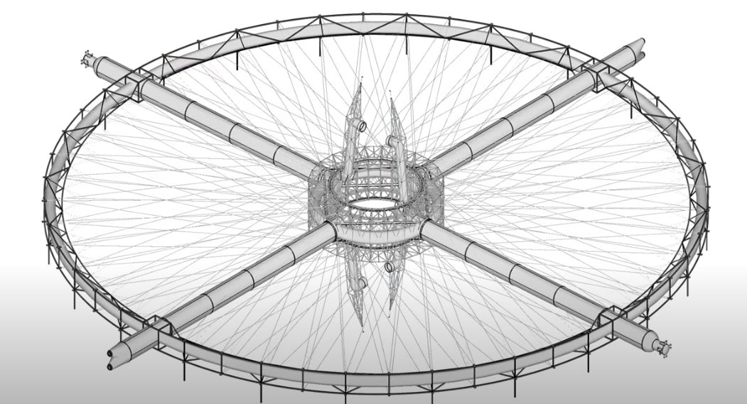 自転車の車輪や観覧車に見られるような骨格フレームでステーションは支えられている。このトラスをロボットが組み立てる。
