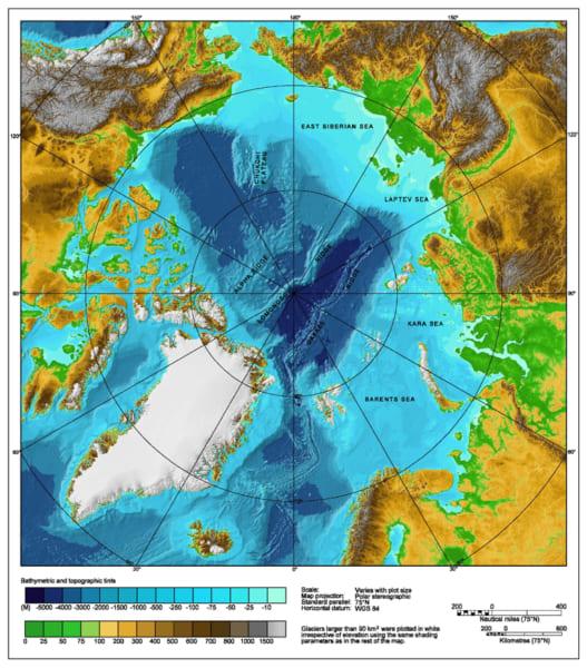 北極海の改定地図。氷河期になると、海面の低下と巨大な氷床によって閉じた領域になった。
