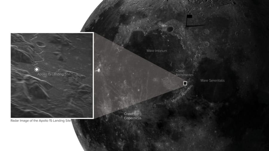 撮影された月面のポイント。ここはアポロ15号の着陸地点でもある。