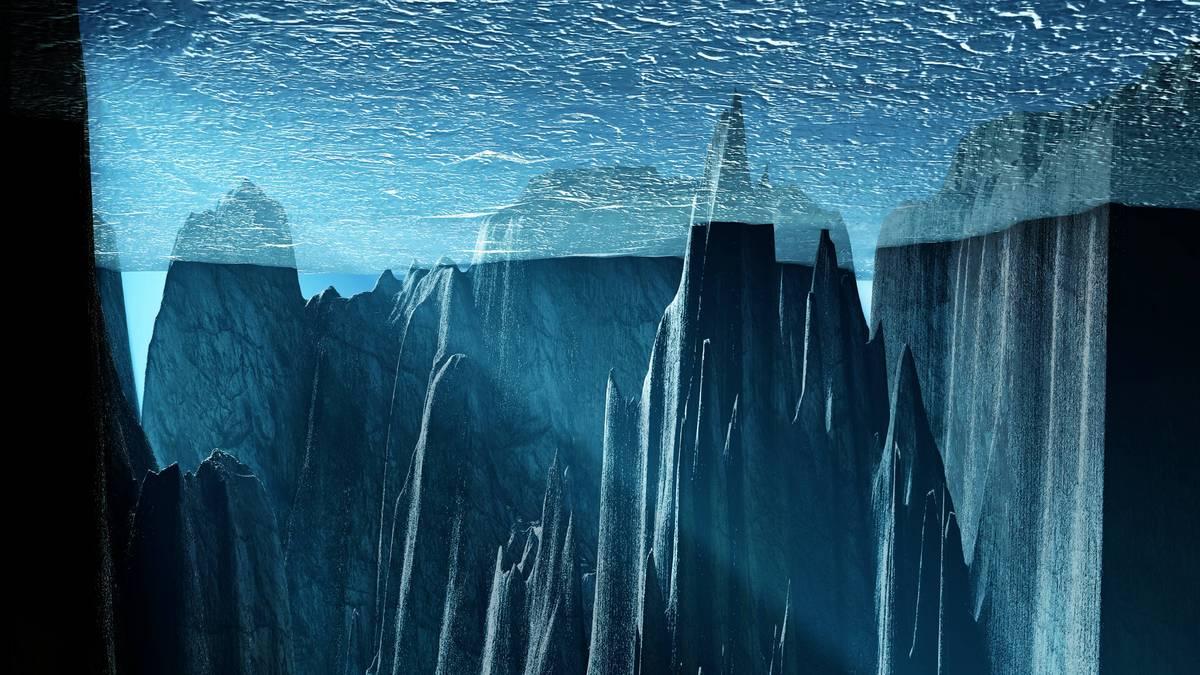 氷河期に北極海は900メートル以上の厚さの氷床に囲まれていた。