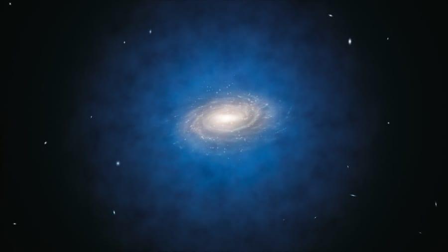 天の川銀河を取り巻く暗黒物質ハロー(青色)のイメージ。