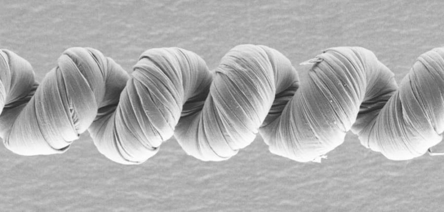 カーボンナノチューブのより糸に、電解質がコーティングされた人工筋肉の走査型電子顕微鏡画像。
