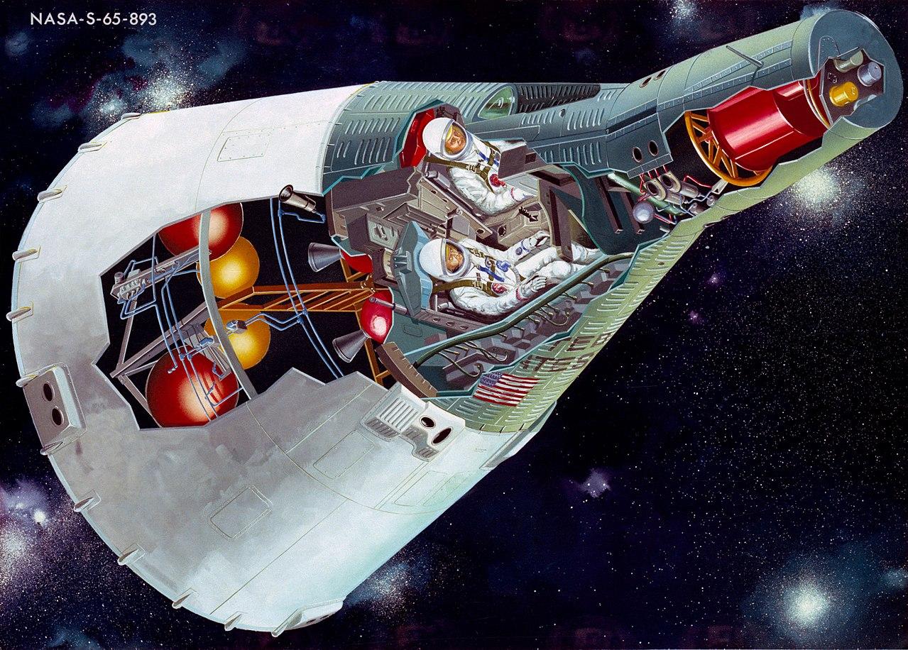 ジェミニ宇宙船の解剖図。
