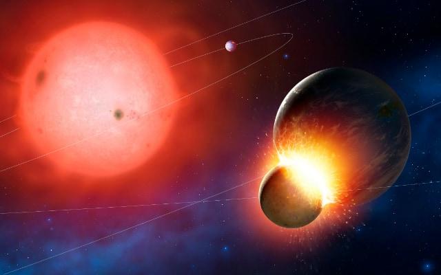 初期の地球にぶつかる原始惑星の想像図。