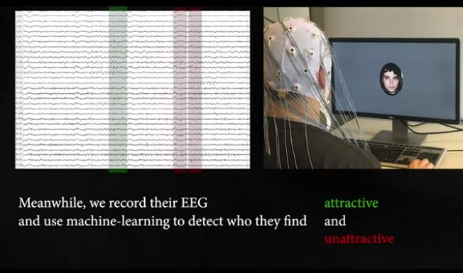 顔を見ている際の脳波を測定