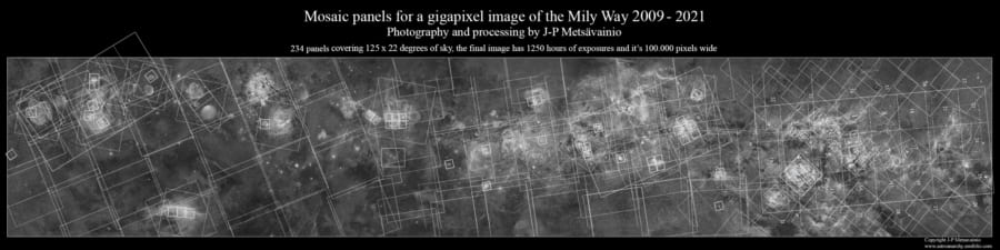 天の川の詳細写真は、12年かけて撮影された234枚の天体写真のモザイク画だという。
