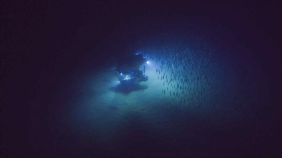 遠隔操作無人探査機(ROV)のダイビングの様子。