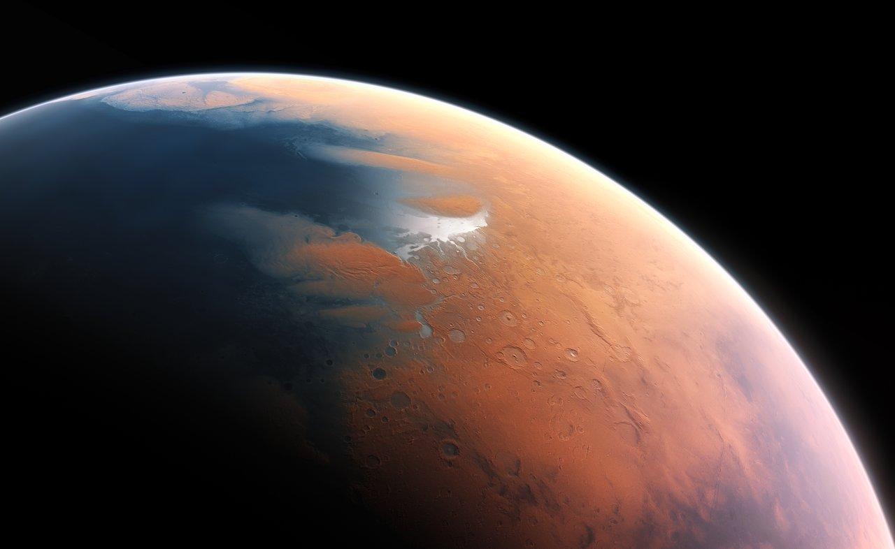 40億年前の火星のアーティストイメージ。この時代の火星は水に覆われていた。