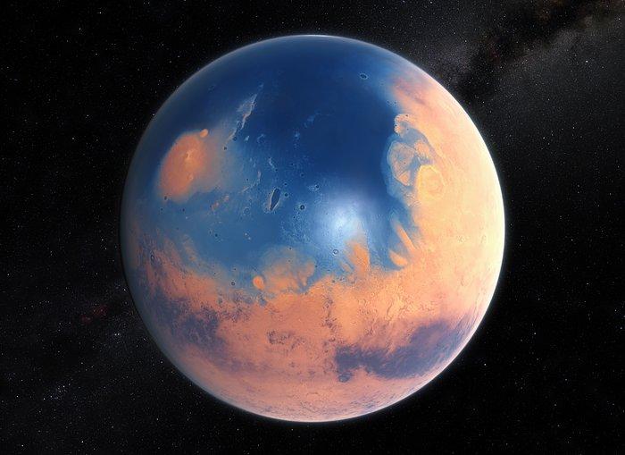 40億年前の火星のイメージ。