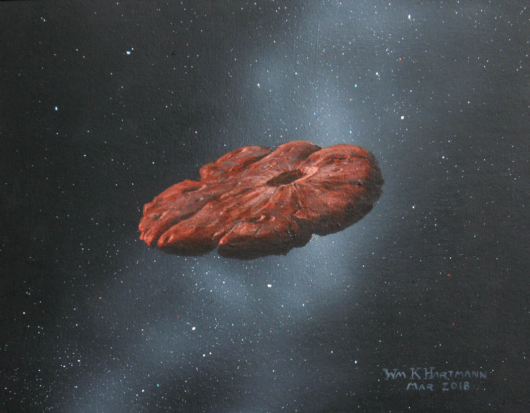 オウムアムアのイメージ。細長い天体という考えもあったが、現在はとても平べったい天体と考えられている。