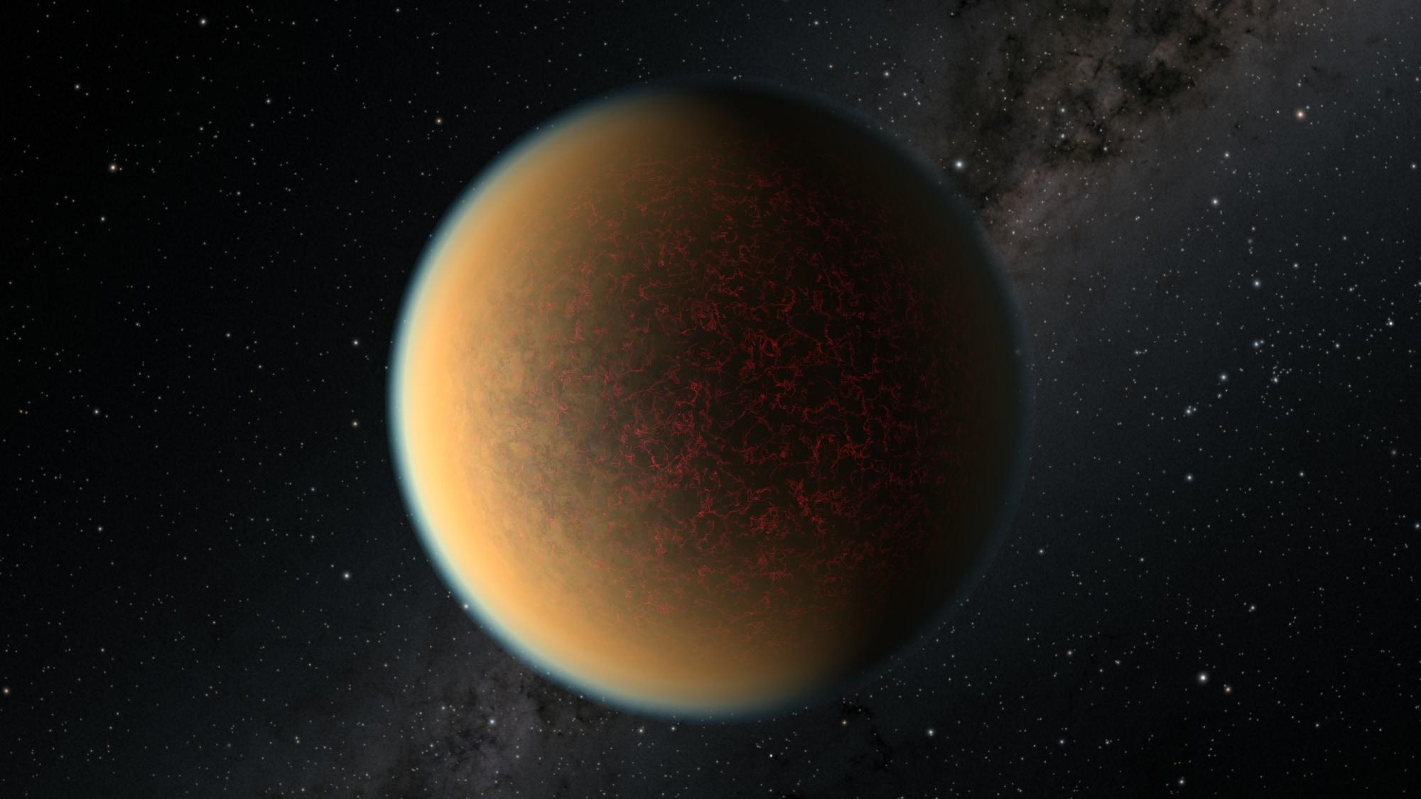 系外惑星GJ 1132bのアーティストイメージ。この星は、主星の放射で1度大気を吹き飛ばされてから、再度大気を獲得した。