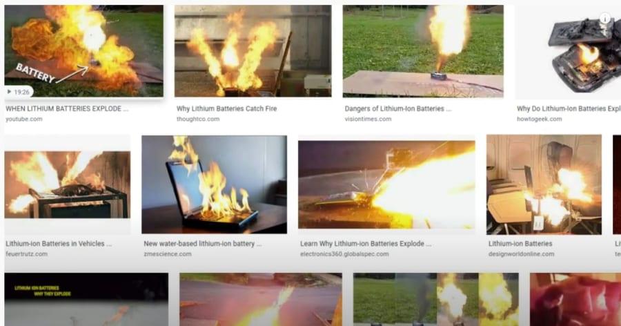 リチウムイオン電池に見られる発火の危険性。