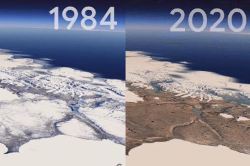 GoogleEarthに新しい「タイムラプス機能」を実装! 37年間の地球の変化を上空から眺められる