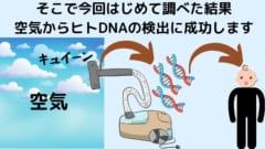 空気中のDNAを検出した結果ヒトのDNAが入っていた