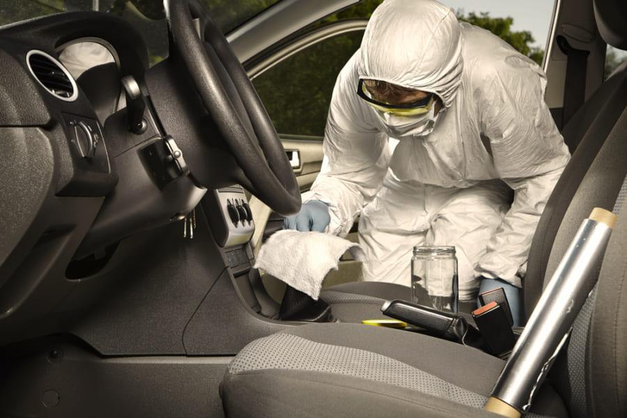 盗難車の中を徹底調査し、一匹の蚊を見つける