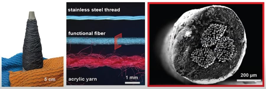 触覚を感知できる特殊繊維を編み込む