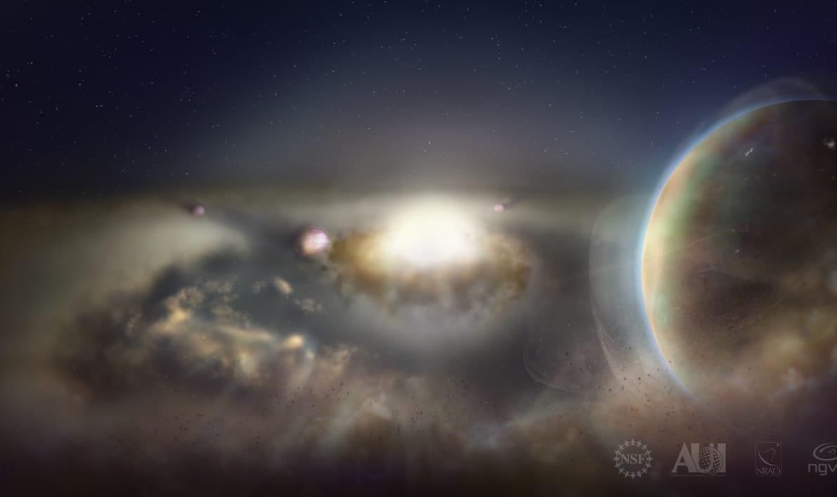 分子雲から星形成が行われるイメージ画像。
