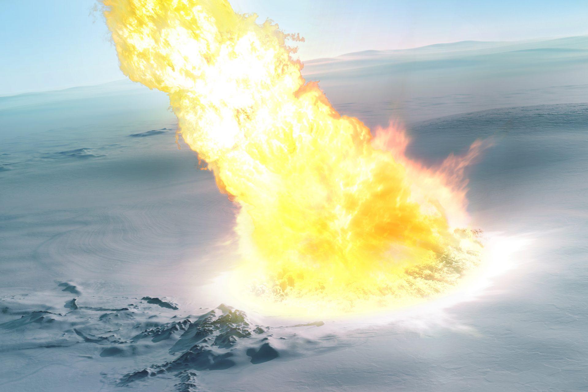 南極大陸に落下した隕石による火柱のアーティストイメージ。