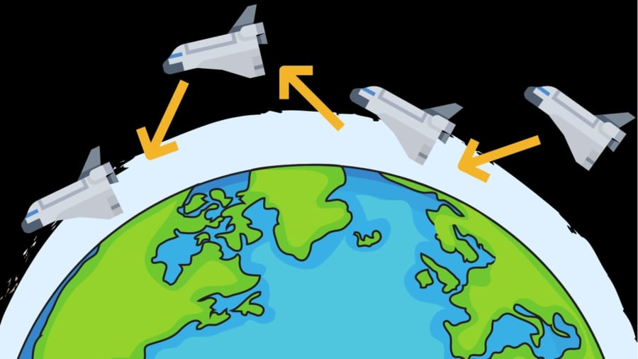 大気を使ってホップイングする宇宙船