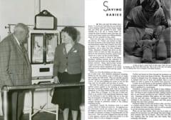 展示をするクーニー医師(左)、当時の記事(右)