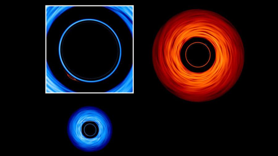 連星系を上から見ると、降着円盤の中に片方の小さな姿が映っている。