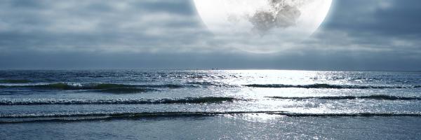 月の引力が地球で潮の満ち引きを起こしている。
