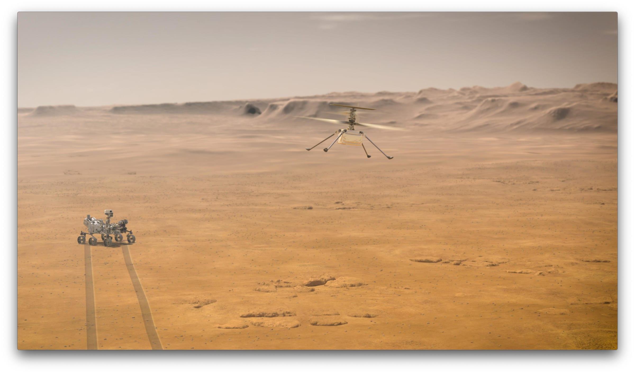 地球以外で初めて、人類はヘリコプターの飛行に成功した。