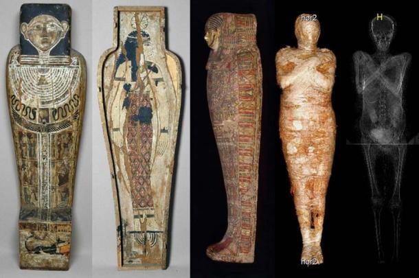 妊婦が納められていた棺とスキャン画像