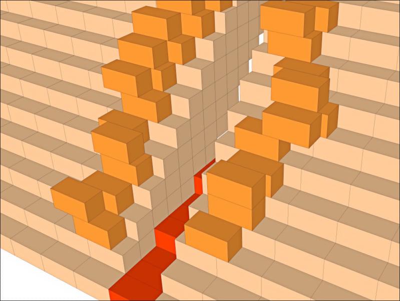 予備の石片(オレンジ)、内に通ずる道(赤)