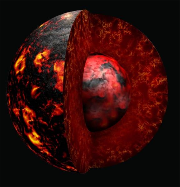 初期の地球はマグマの海で、それが個体化していった。そこには初期大気の組成も記録された。