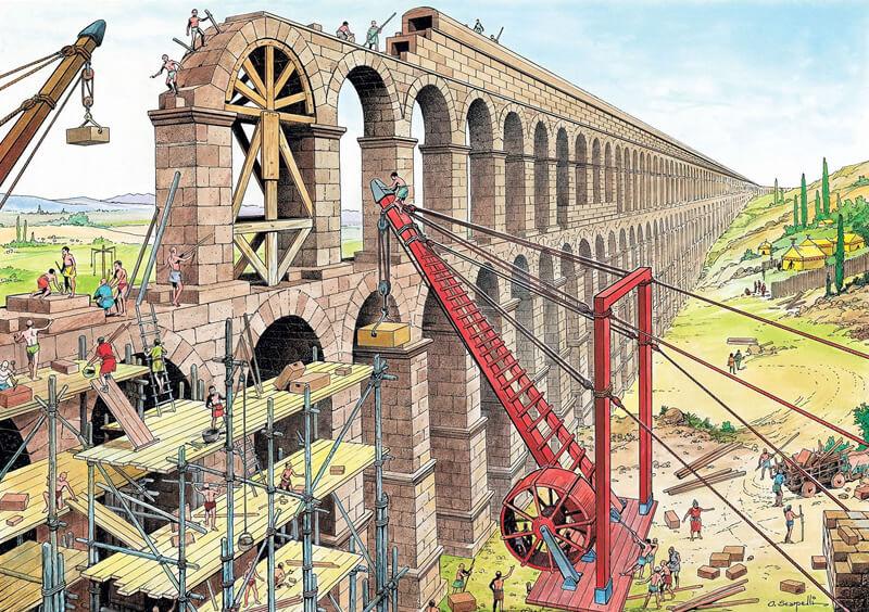 古代ローマ人の水道橋建築の想像図