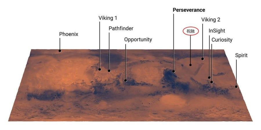 歴代火星探査車の火星着陸地点