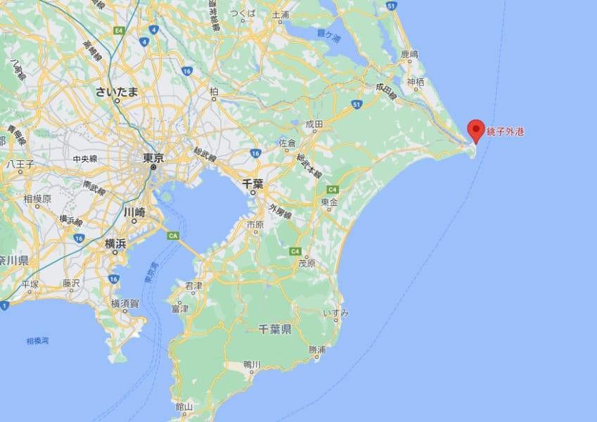 新種ダニの発見された千葉県銚子外港の位置