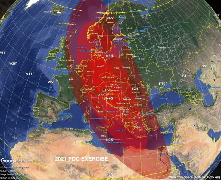 5月2日時点で予想された2021PDCの落下予想範囲