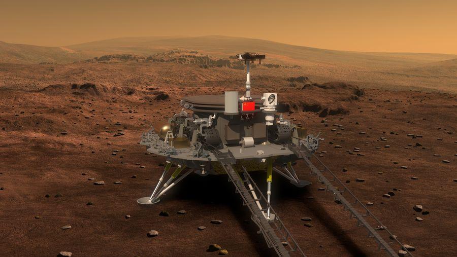 火星探査車「祝融号」を下ろす着陸船の様子を描いたイメージ画像