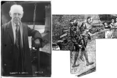 ギャレット・P・サービス(左)。「エジソンの火星征服」の挿絵(右)。