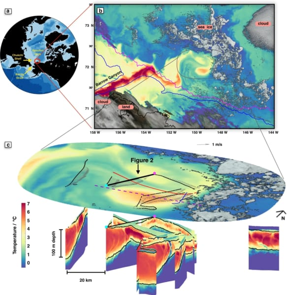 バロー峡谷通って北極海へ流れ込む暖かく塩分のどの高い太平洋の海水