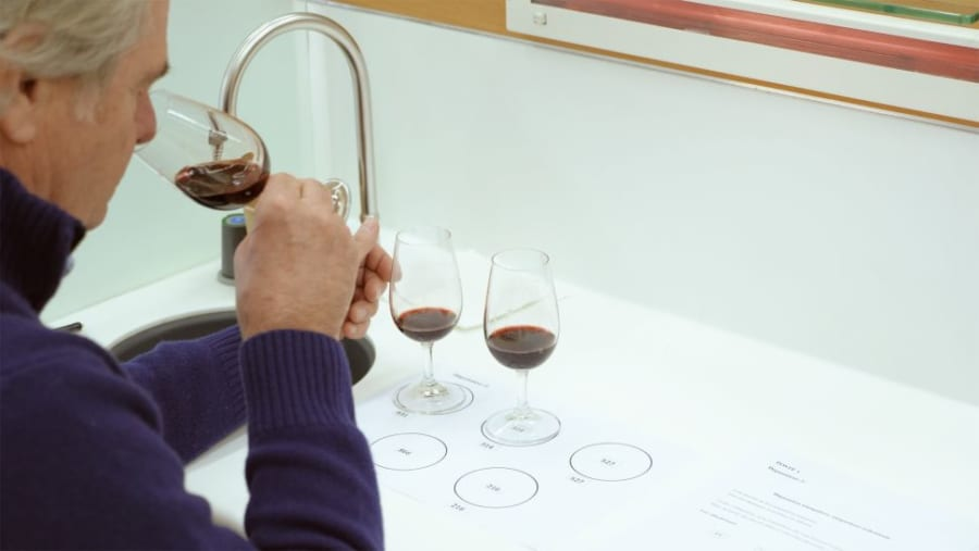 パネリストには、地上・宇宙熟成を隠した状態で3杯のワインが用意されテイスティングが行われた