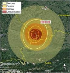 被害予想範囲。最大で直径300kmの地域が被害を受ける。