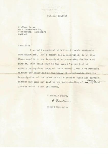 1949年10月18日付けプリンストン大のアインシュタイン教授からイギリスのグリン氏宛ての手紙。フォンフリッシュの業績と動物の感覚的知覚について