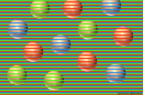 【錯視】ボールは何色に見えますか? じつは全部同じ茶色です