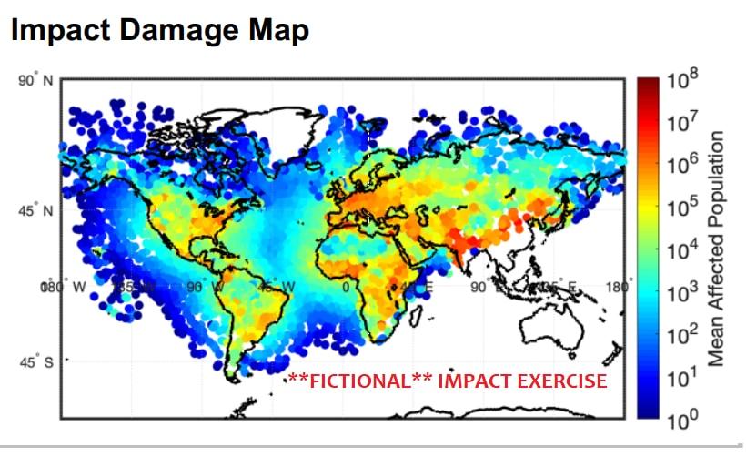 小惑星衝突時の影響予想